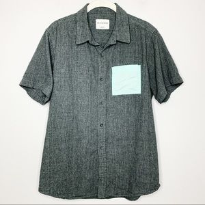 ON THE BYAS Gray w/ Teal Pocket Button Up Shirt